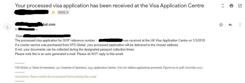 UK Visa notification email